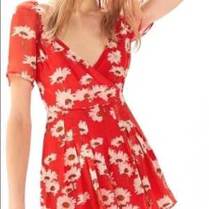 Urban Outfitters Red Floral Romper